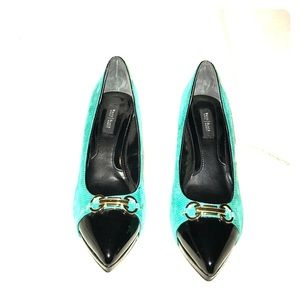 White House Black Market Green Snakeskin Pumps